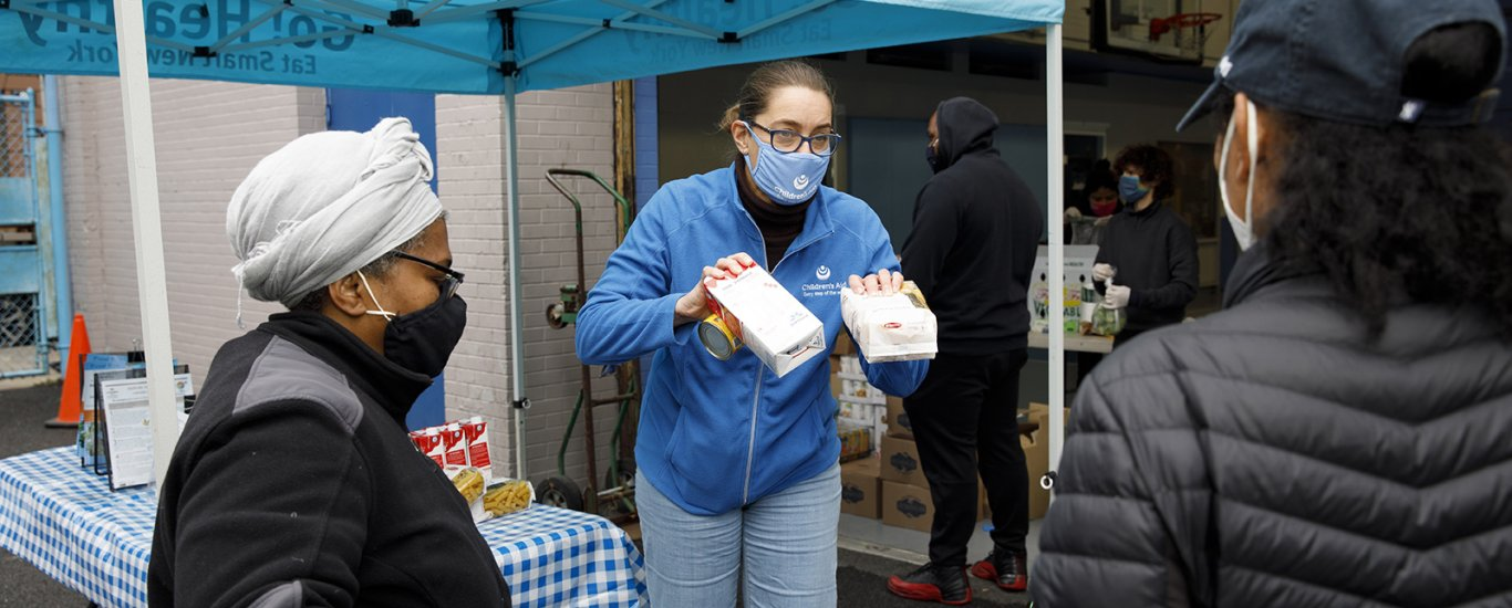 Phoebe Boyer at food distribution site