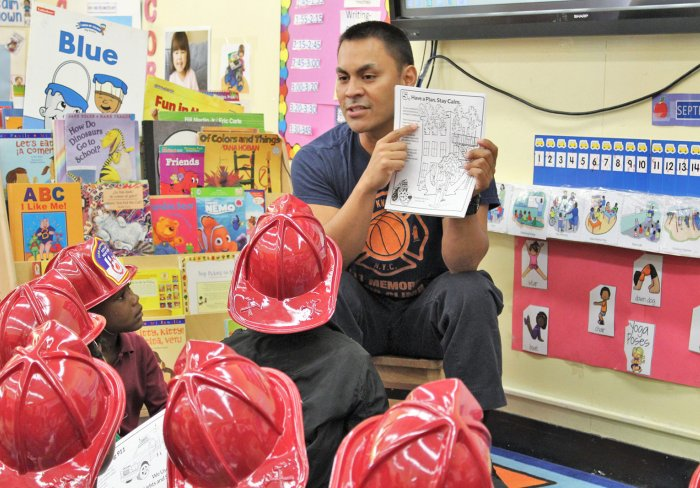 New York City Firefighter visits Children's Aid Early Childhood program