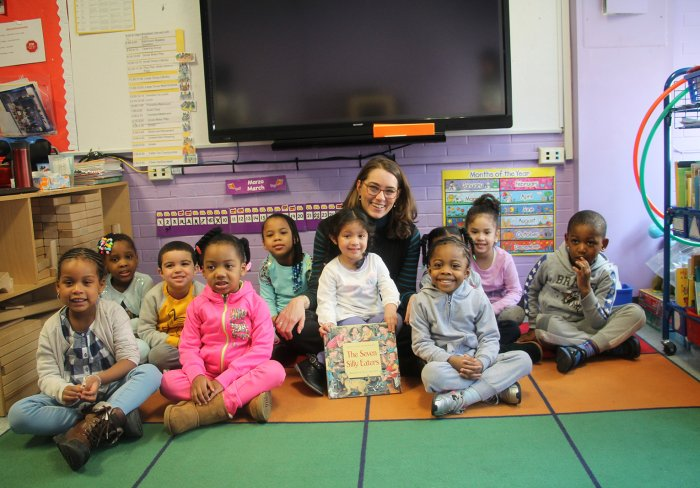 Phoebe Boyer with children from our Early Childhood program