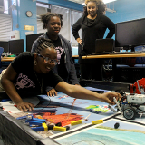 Young girls working on robots